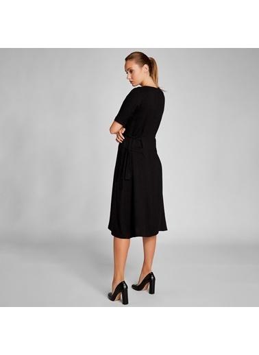 Vekem-Limited Edition Beli Büzgülü Kısa Kollu Elbise Antrasit